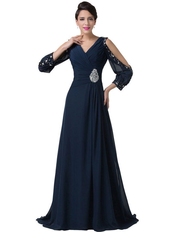 Dark Blue Off-Shoulder Glitter Evening Dress