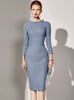 Blue Bodycon Long Sleeve OL Midi Dress