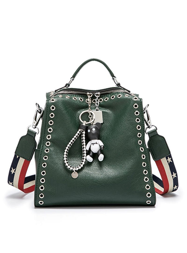 Green PU Zipper Up Rivets Backpack
