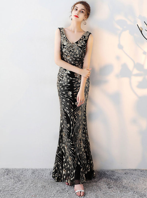 Black Deep V-Neck Golden Embroidered Evening Dress