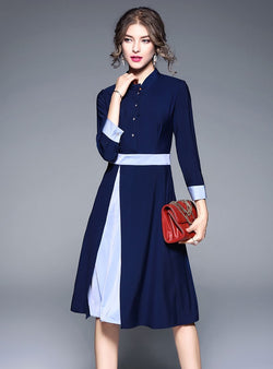 Navy Blue Match Color Cinched Waist Midi Dress