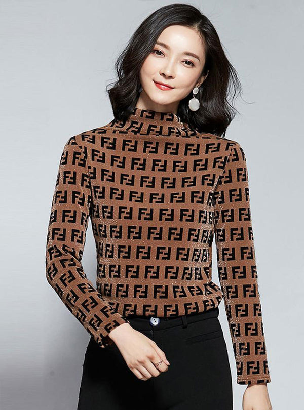 Shift Letter Printed Stand Collar Shimmer Tops