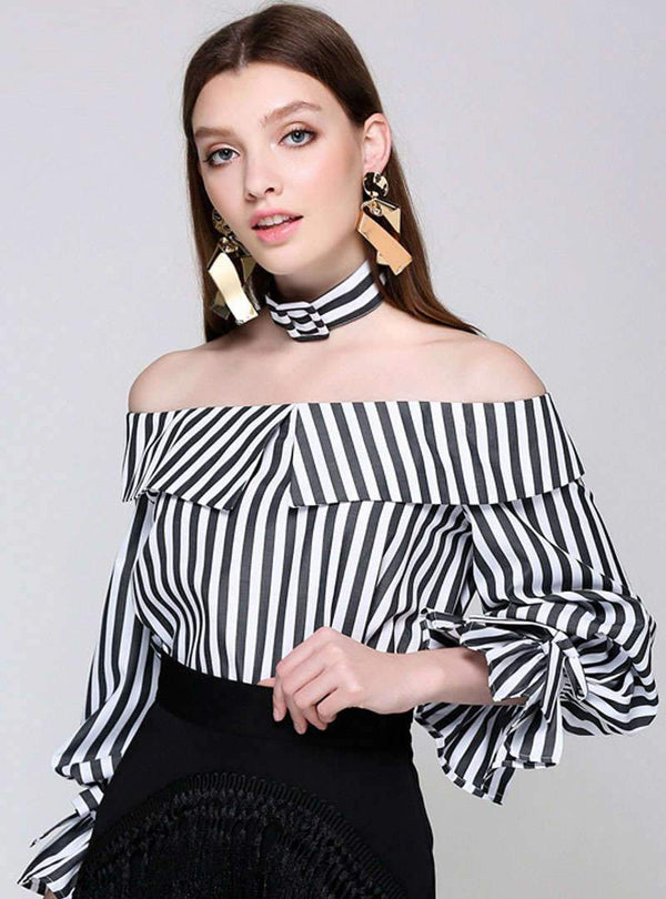 Black Stripes Off The Shoulder Blouse