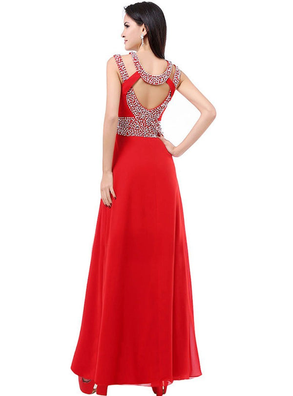 Sexy Halter Rhinestone Chiffon Evening Dress