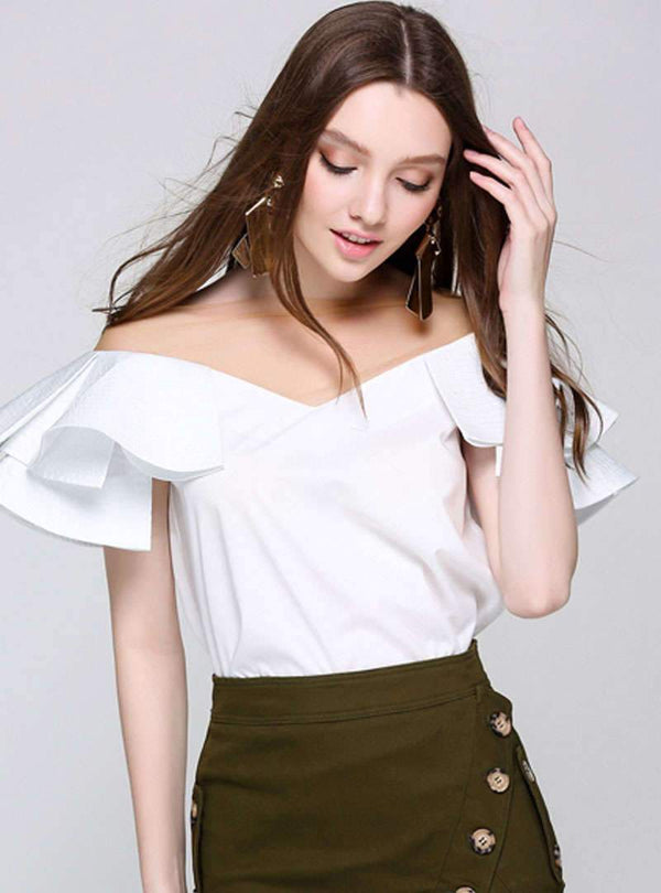 Pure Color Off The Shoulder Falbala Blouse