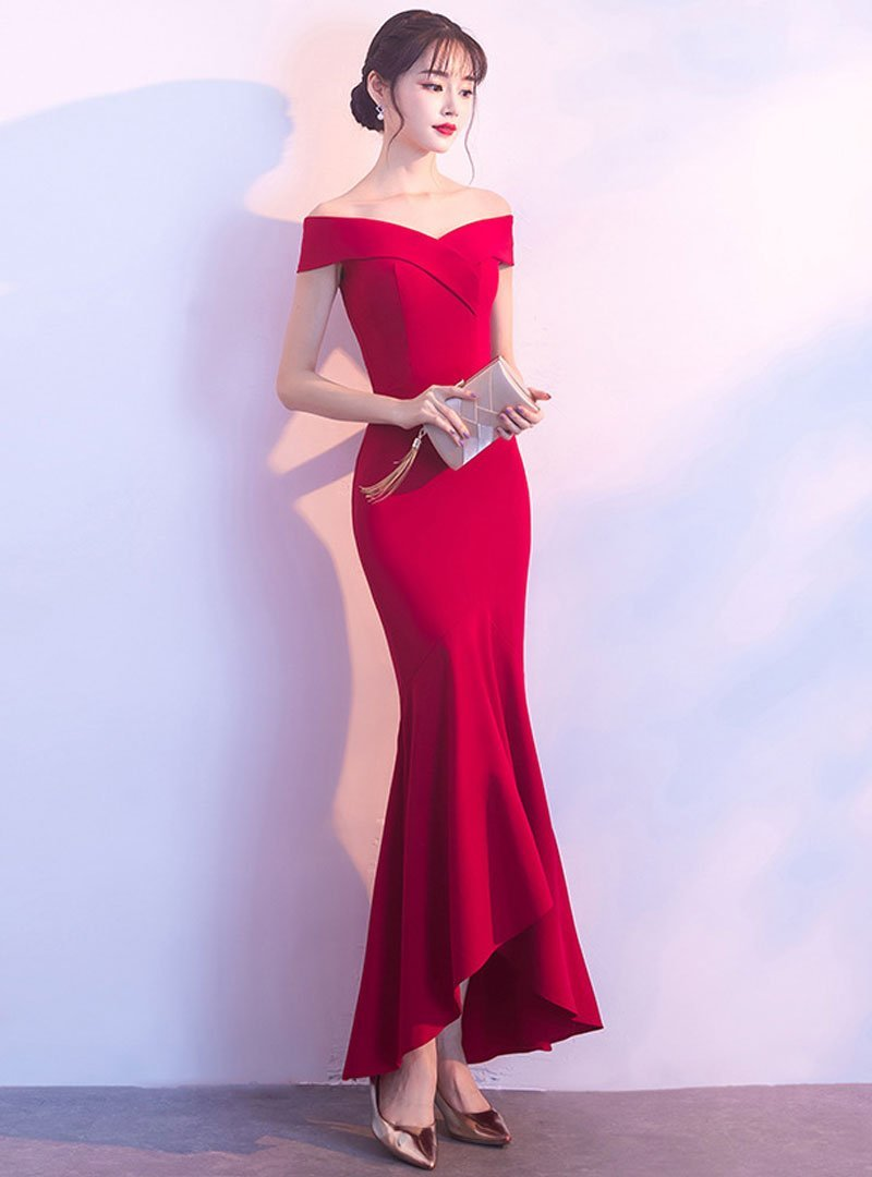 Red Off-Shoulder Fish Tail Evening Dress