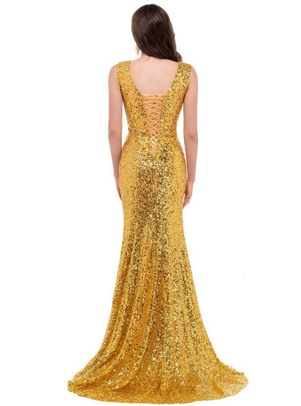 Sexy V-Neck Glitter Evening Dress