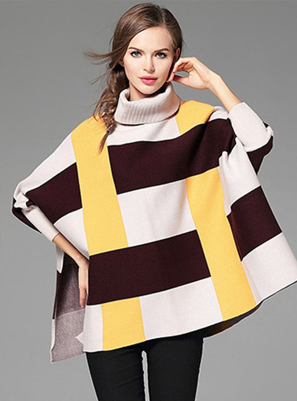 Matching Color Grid Printed Sweater