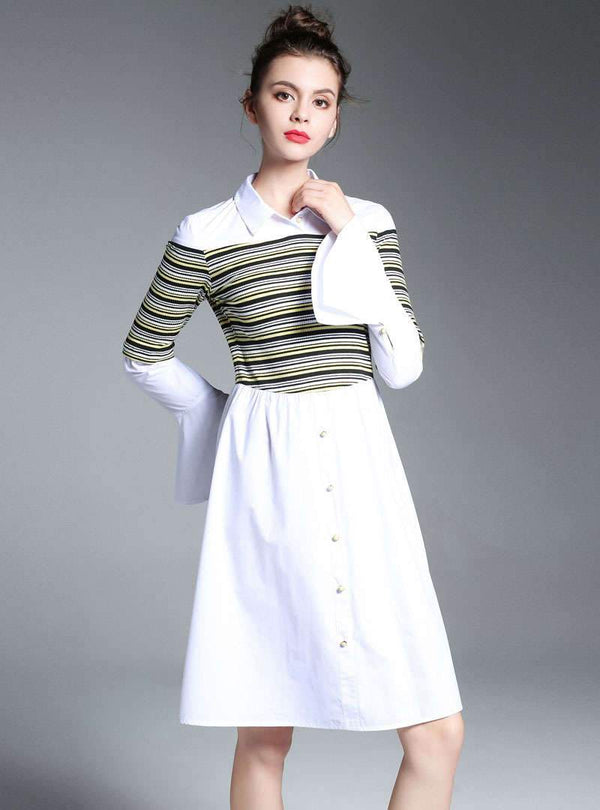 White Striped Flare Sleeve Shirt Dress