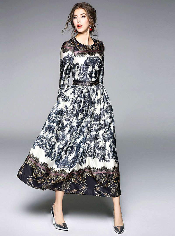 Black Floral Printed Swing Maxi Dress