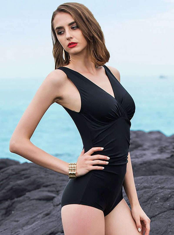 Black Sexy V-neck Sheath Swimwear