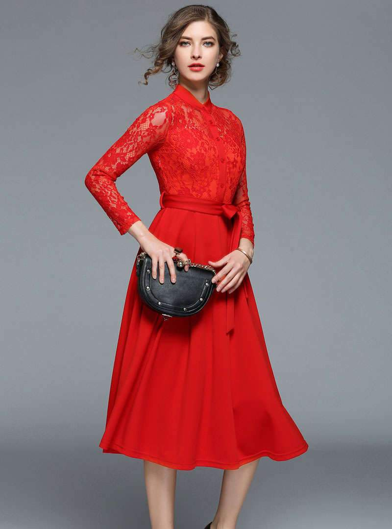 Solid Color Hollow-out Lace Belted Midi Dress
