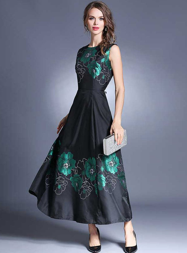 Black Floral Embroidered Sleeveless Maxi Dress