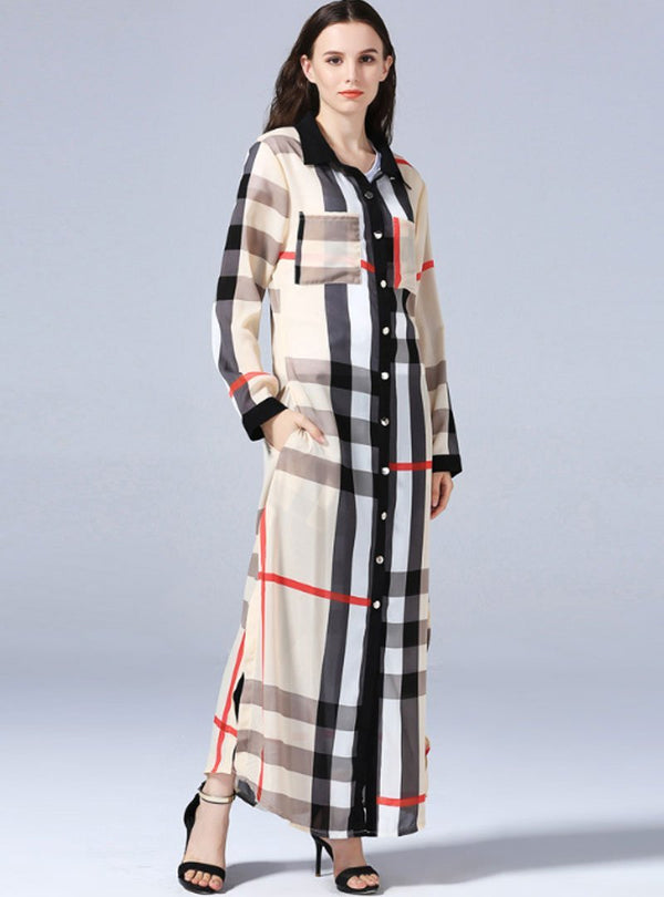 Beige Loose Plaid Single-Breasted Cardigans