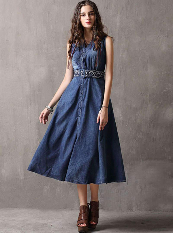 Denim V-Neck Embroidered Tie Waist Shirt Dress