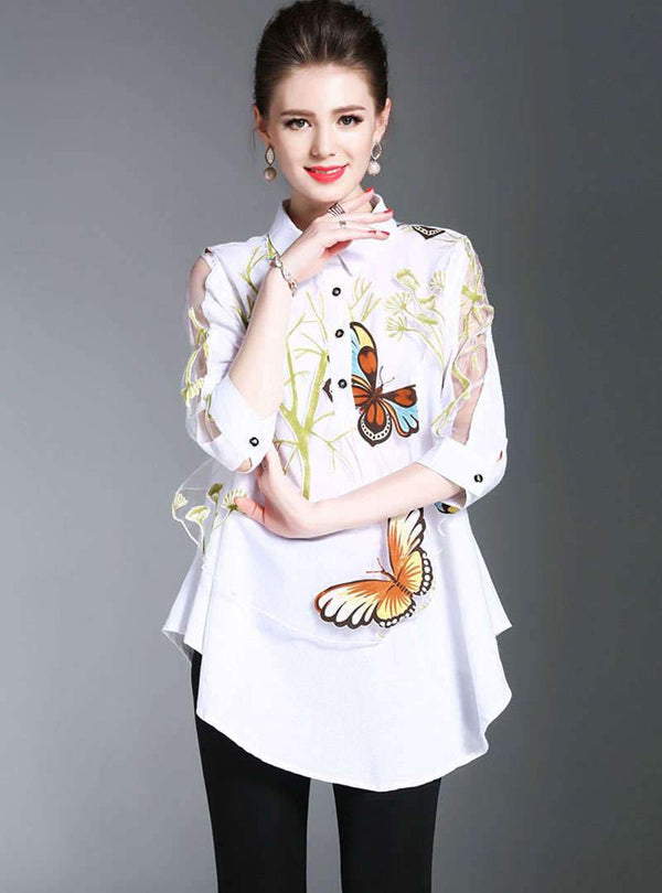 Floral Printed Hollow Out Sleeve Casual Blouse