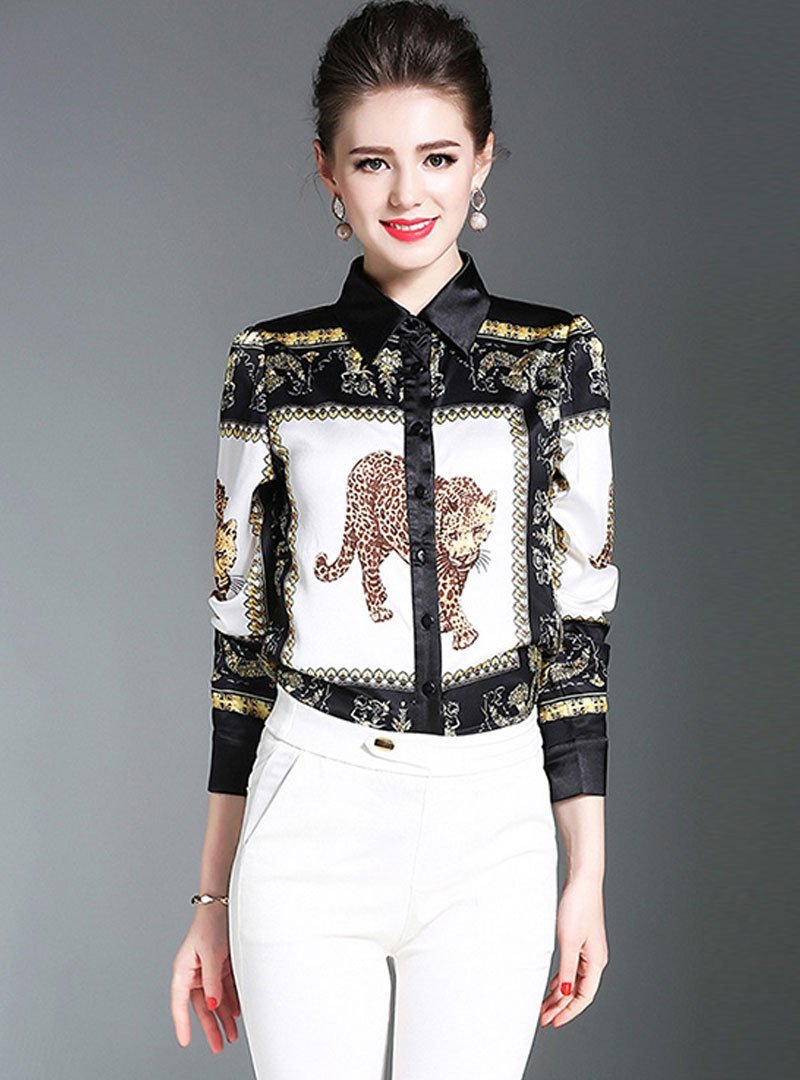 Retro Printed Turn Down Collar Satin Blouse