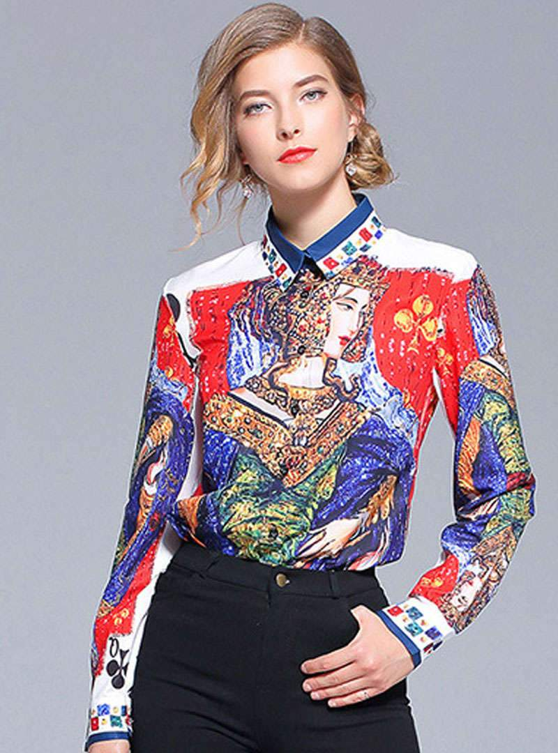 Multi Color Printed Vintage Blouse