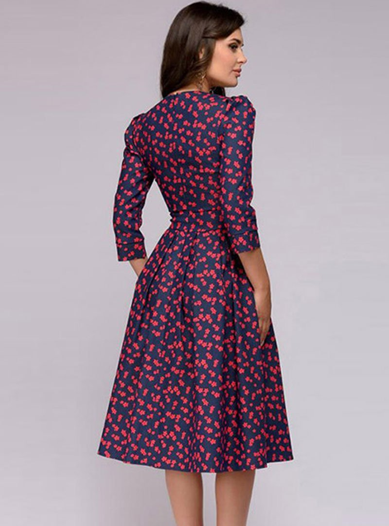 Floral Printed Round Neck Midi Dress