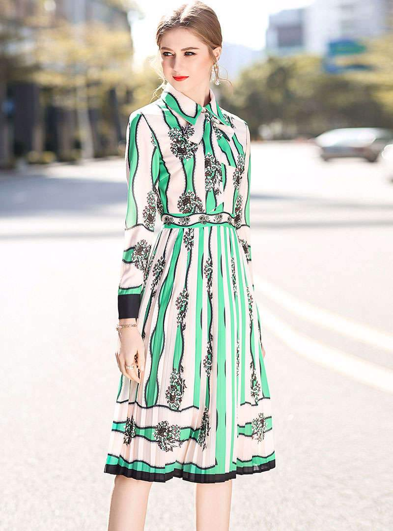 Matching Color Floral Printed Swing Midi Dress