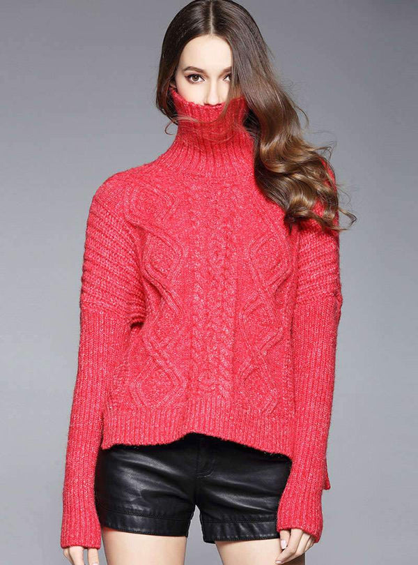 Red High-Neck Knitted Sweater