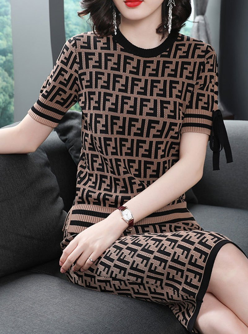 Brown Printed Short Sleeves Two-Piece Outfit