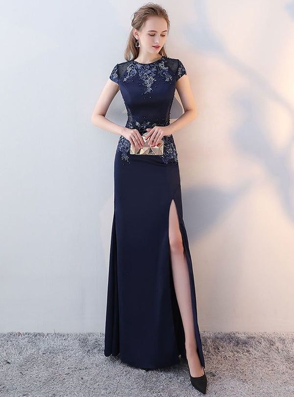 Dark Blue Embroidered Glitter Fish Tail Evening Dress