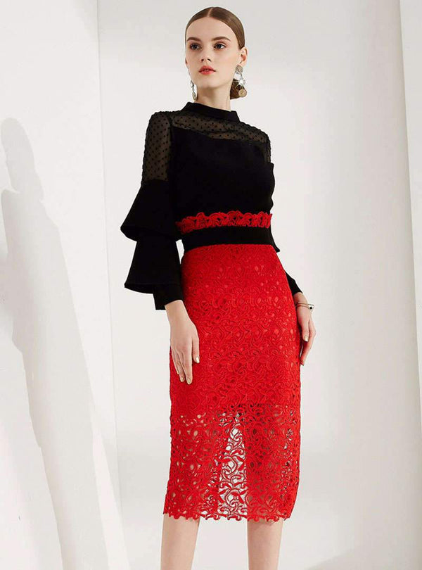 Multi Layered Sleeve Top & Sheath Lace Dress