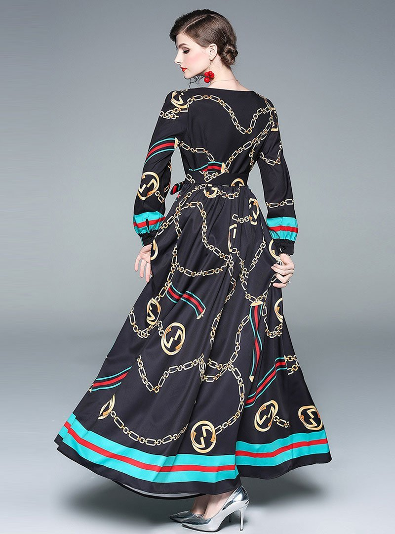 Vintage Long Sleeve V-Neck Printed Maxi Dress