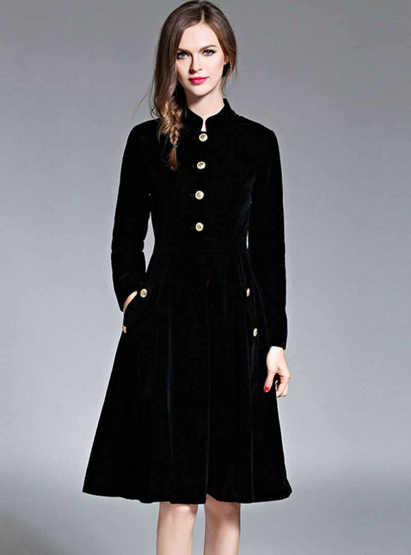 Retro Black Velvet Stand Neck Midi Coat Dress