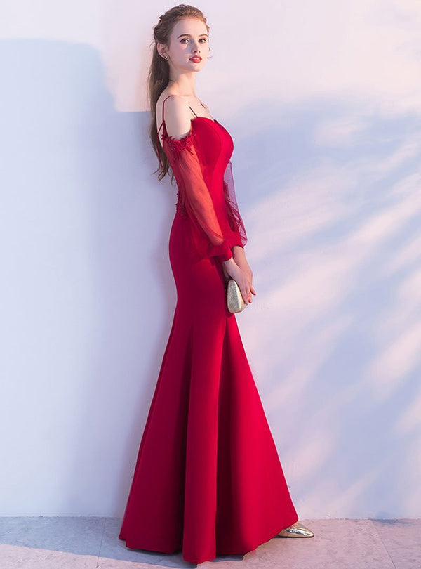 Solid Color Off-Shoulder Fish Tail Evening Dress