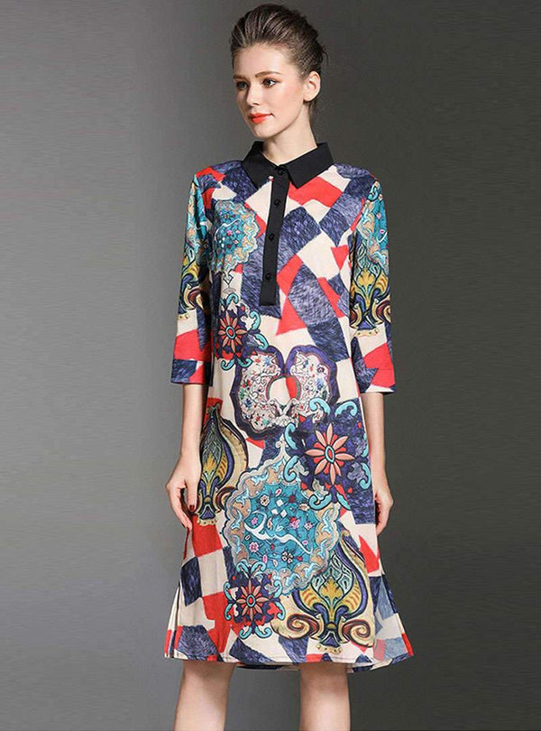 Multi-Color Floral Printed Turn Down Collar Shirt Dress