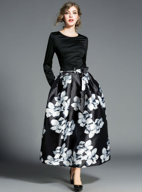 Match Color Floral Printed Belted Maxi Dress
