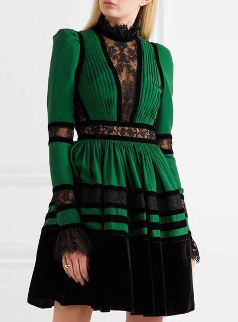 Green Cinched Waist Pleased Lace Mini Dress