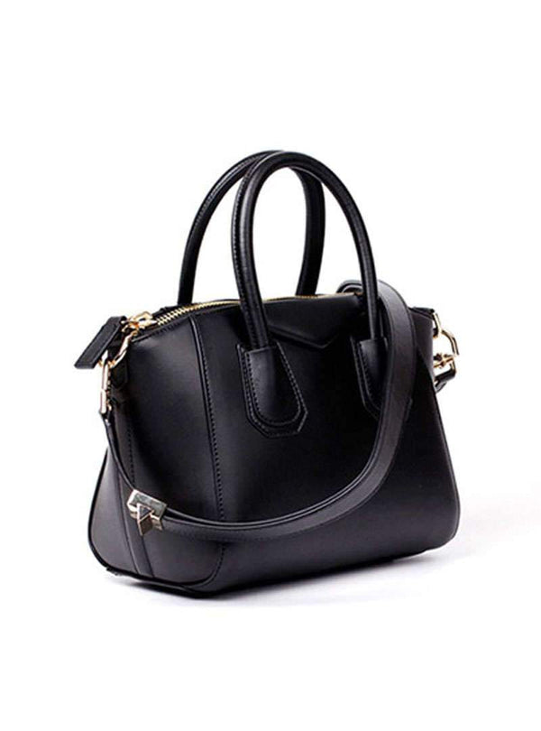 Black Leather Tote Bag With Adjustable Strap