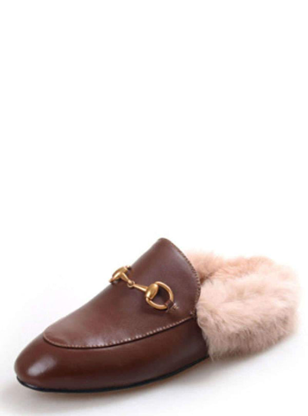 Fashion Fur-lined Inside Wool Flats