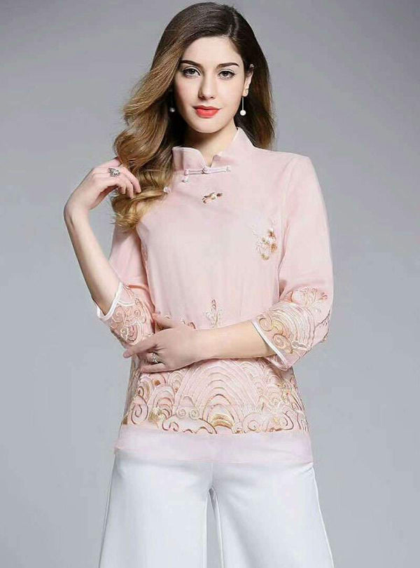 Floral Embroidered Stand Collar Silk T-Shirt