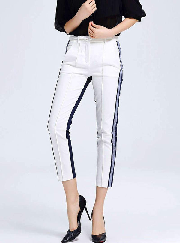 Match Color Spliced Cotton High Waist Pants