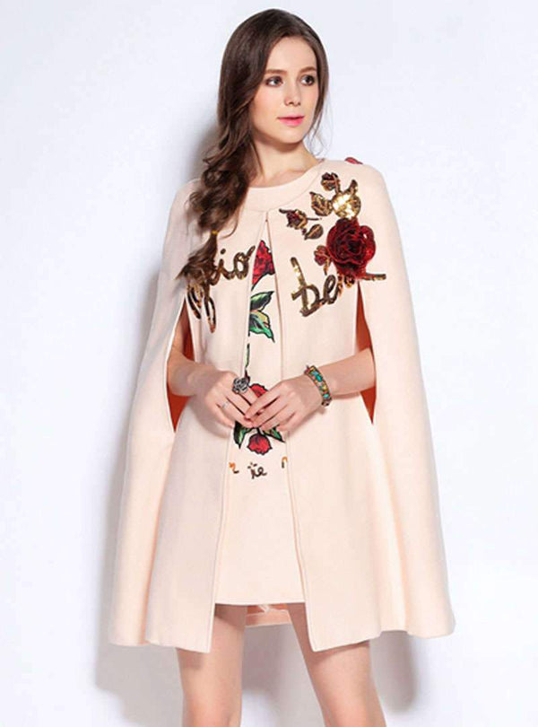 Apricot Embroidered Mini Dress & Coat