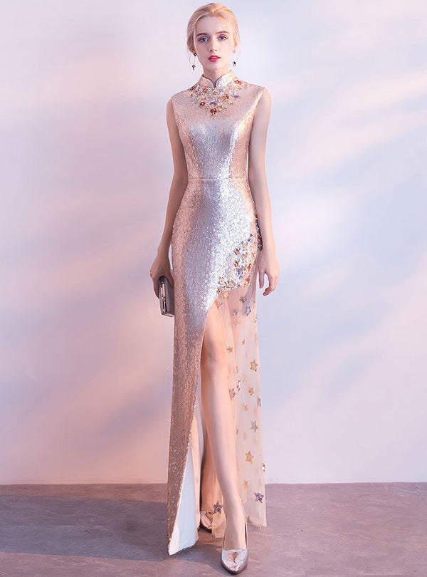 Champagne Stand Neck Floral Evening Dress
