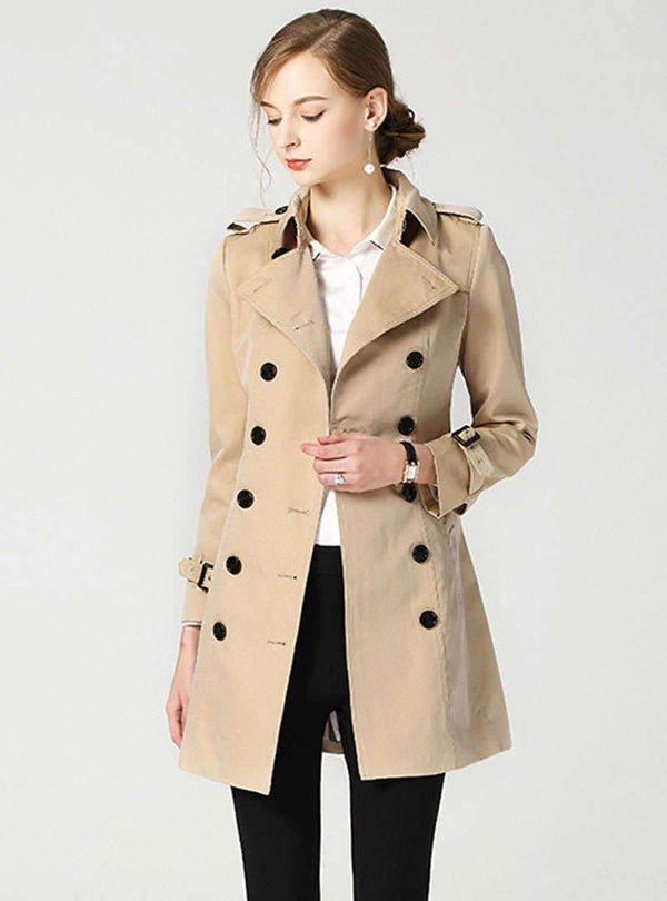 Khaki Double- Breasted Belted Coat