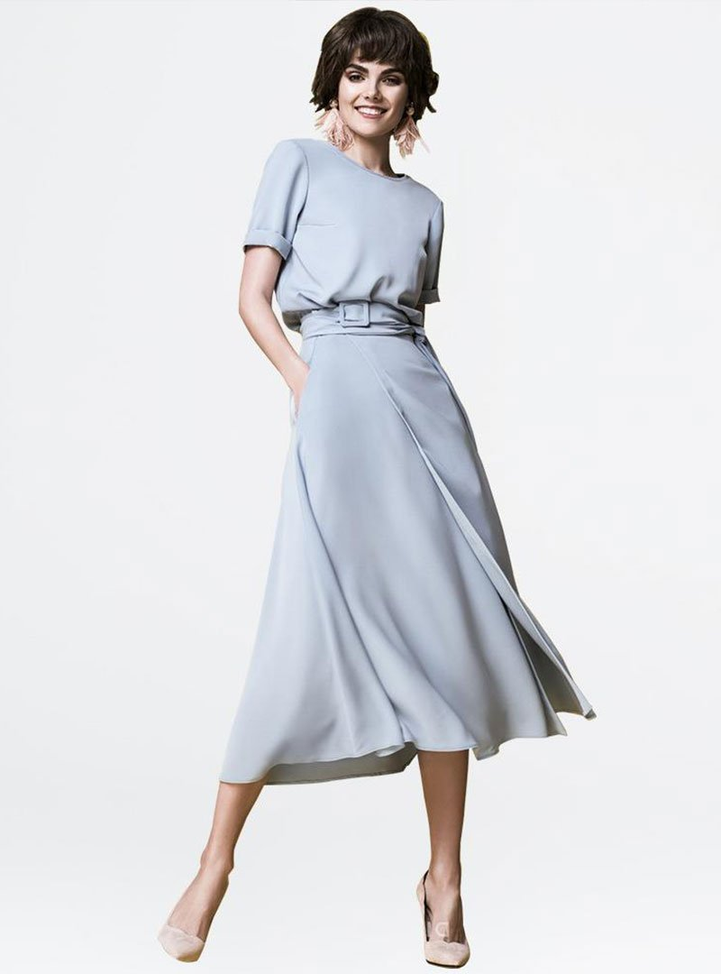 Blue Crew Neck A-Line Date Solid Casual Midi Dress