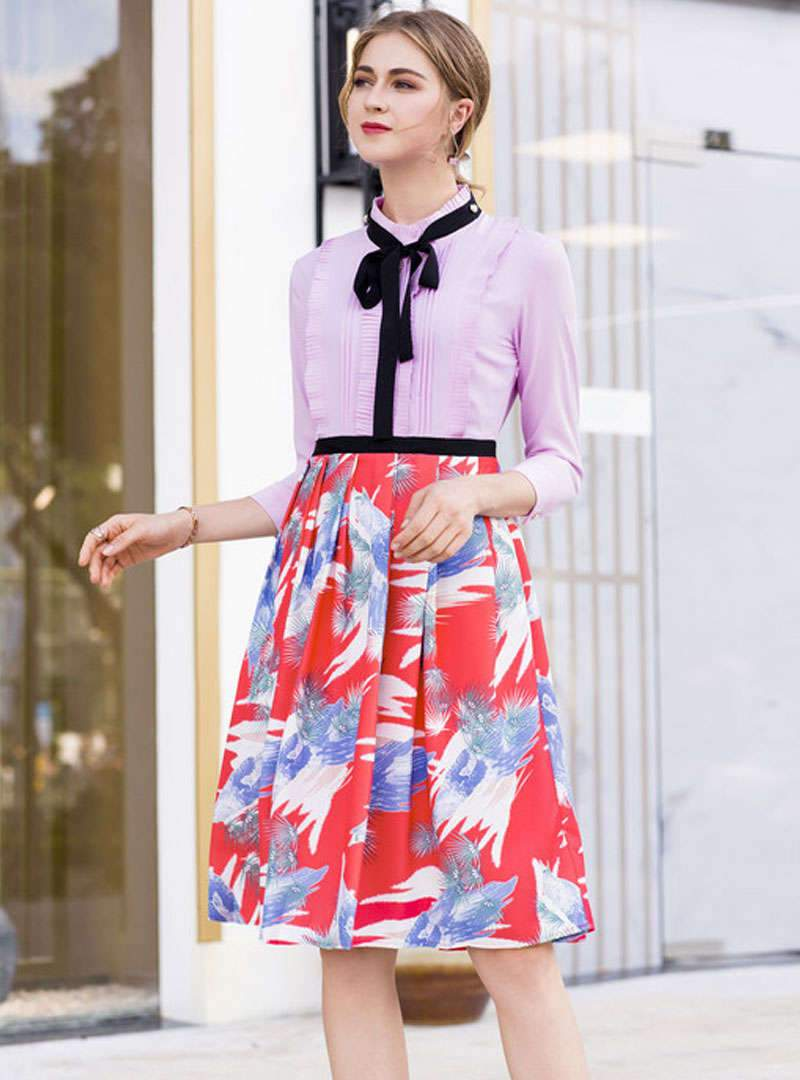 Floral Printed Bow Neck Ruffled Midi Dress