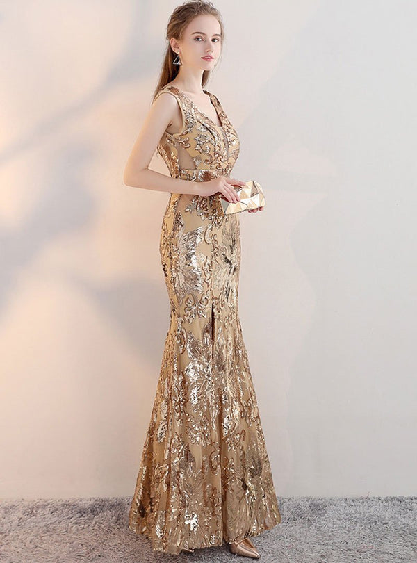 Golden V-Neck Glitter Evening Dress