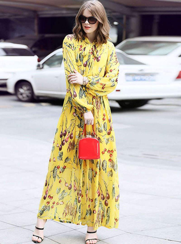 Yellow Floral Printed Lace-up Swing Maxi Dress