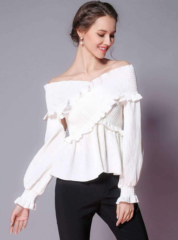 White V-Neck Off The Shoulder T-Shirt