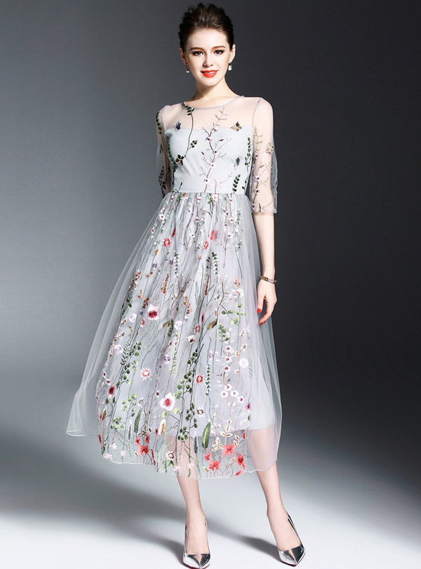 White Mesh Floral Embroidered Maxi Dress