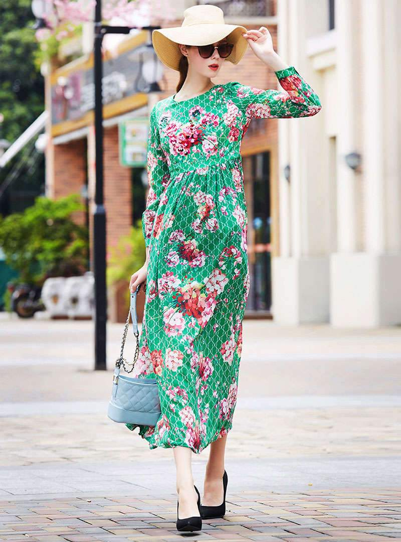 Green Floral Printed Beaded Maxi Dress
