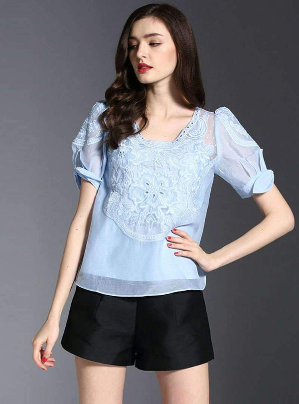 Solid Color Floral Embroidered T-Shirt