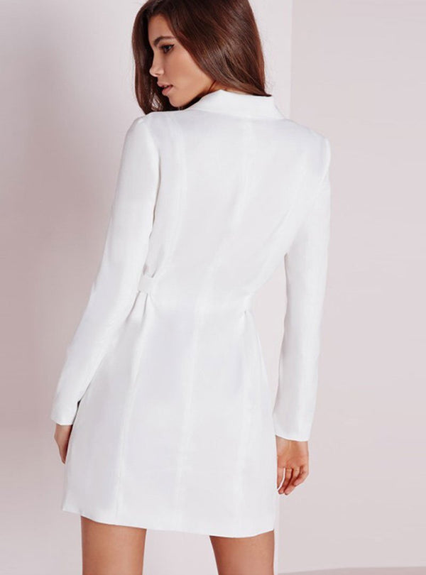 White Sheath Daily Sexy Slit Mini Dress